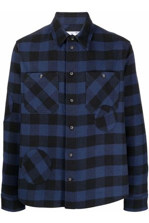 OFF-WHITE Men Shirts - Patch-embellished check shirt