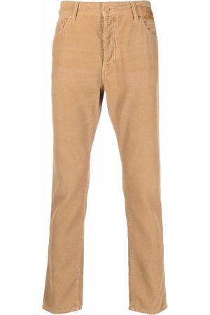 Palm Angels Men Skinny Pants - Slim leg corduroy logo trousers - Neutrals