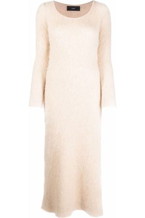Alanui Long-sleeve slit-detail dress - Neutrals