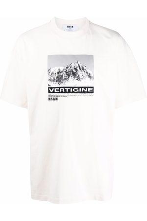 Msgm Graphic-print cotton T-Shirt - Neutrals