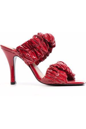 Pinko Women Sandals - Gathered-leather sandals