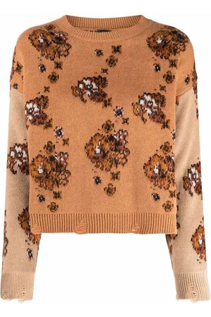 Pinko Floral-print knitted jumper - Neutrals