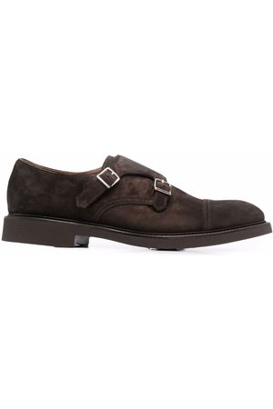 Doucal's Suede double-buckle monk shoes