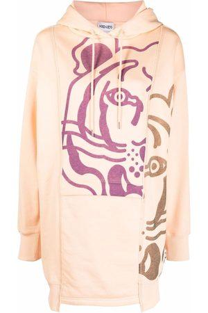 Kenzo Women Printed Dresses - Tiger-print hoodie dress