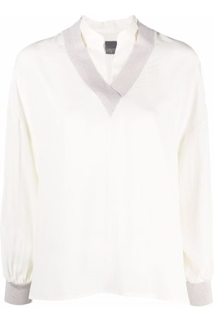 Lorena Antoniazzi V-neck bishop-sleeved blouse - Neutrals