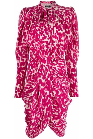 Isabel Marant Abstract-print pussybow gathered dress