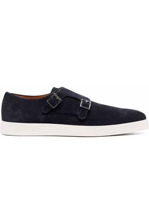 Santoni Double-buckle suede monk shoes