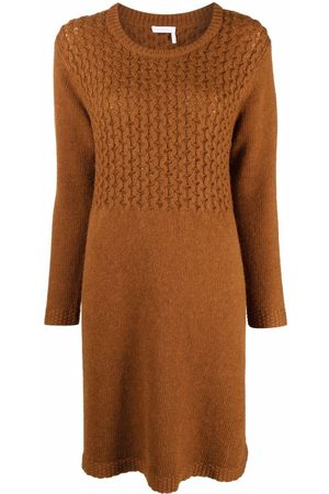 See by Chloé Textured knit wool-blend jumper dress