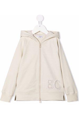 Brunello Cucinelli Logo embroidered zipped hoodie - Neutrals