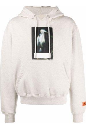 Heron Preston Heron-print cotton hoodie - Grey