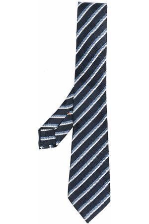 Ermenegildo Zegna Stripe embroidered silk tie
