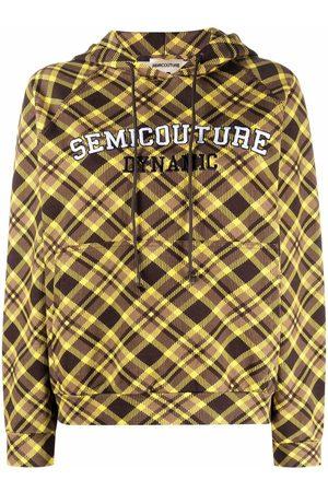 Semicouture Logo-printed checked hoodie