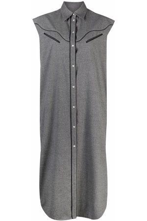 MM6 Maison Margiela Contrasting-trim shirt dress - Grey