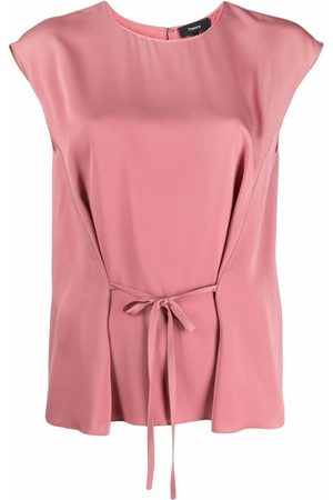 THEORY Front-tie sleeveless blouse