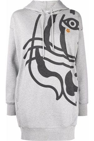 Kenzo Logo hooded sweatshirt dress - Grey
