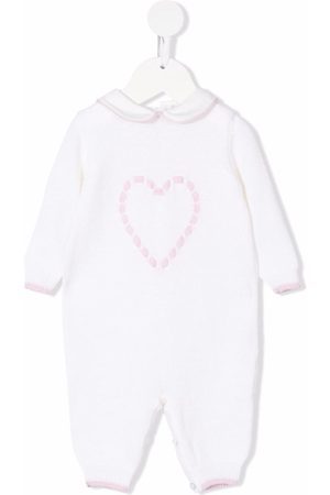 SIOLA Heart embroidered-logo rompers - Neutrals