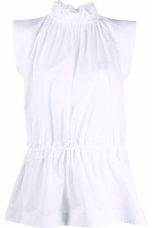 Victoria Victoria Beckham Gathered-neck organic cotton blouse