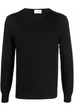 Salvatore Ferragamo Chevron-knit ribbed-trim jumper