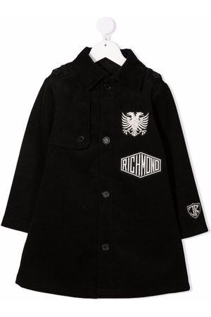 John Richmond Junior Logo-embroidered single-breasted coat