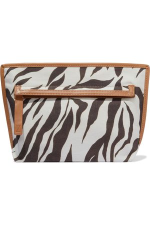 ZIMMERMANN Woman Leather-trimmed Zebra-print Canvas Pouch Animal Print Size