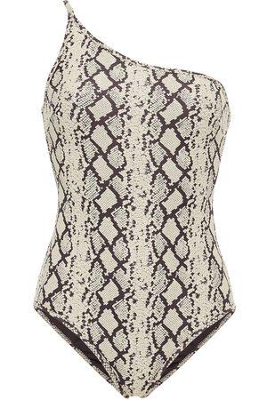 ZIMMERMANN Woman One-shoulder Stretch-jacquard Swimsuit Animal Print Size 0