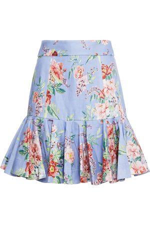 ZIMMERMANN Woman Bellitude Flip Fluted Floral-print Linen Mini Skirt Lavender Size 3