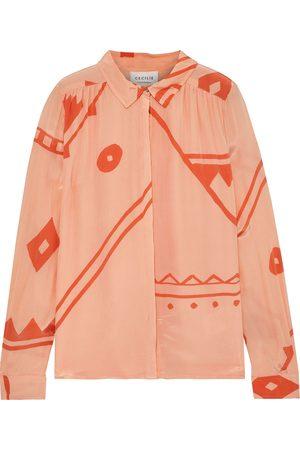 CECILIE COPENHAGEN Woman Caroline Printed Crinkled Crepe De Chine Shirt Peach Size S