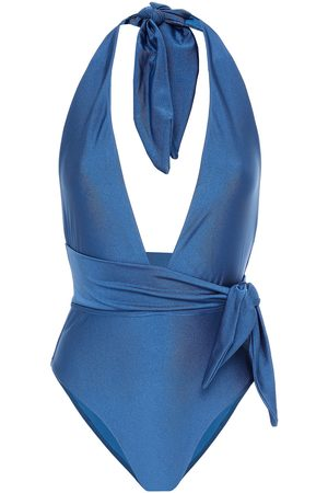 ZIMMERMANN Woman Belted Halterneck Swimsuit Cobalt Size 0
