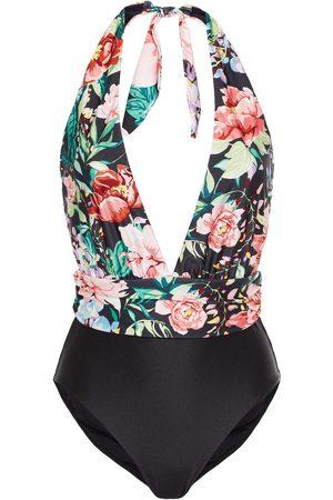 ZIMMERMANN Woman Paneled Floral-print Halterneck Swimsuit Size 1
