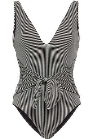 ZIMMERMANN Woman Tie-front Metallic Striped Ribbed Swimsuit Size 0