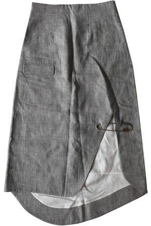 ANN-SOFIE BACK Linen mid-length skirt