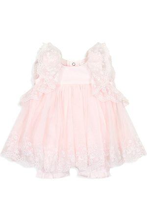 Miniclasix Swimwear - Baby Girl's Lace & Ruffle Coveralls - - Size 9 Months