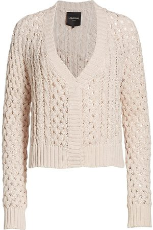Le Superbe Women Cardigans - Women's Bardot Openwork Cable Cardigan - Nude Skin - Size Small