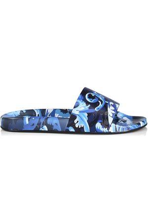 VERSACE Men's Baroccoflage Slides - Lapis - Size 6 Sandals