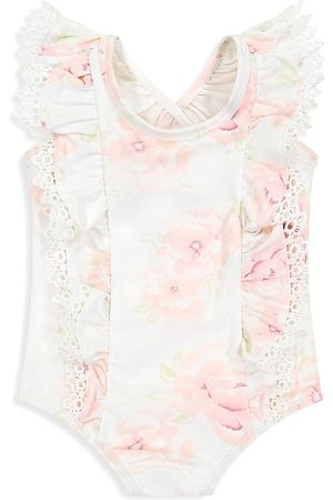Miniclasix Baby Girl's Floral Ruffle One-Piece Swimsuit - Size 3 Months