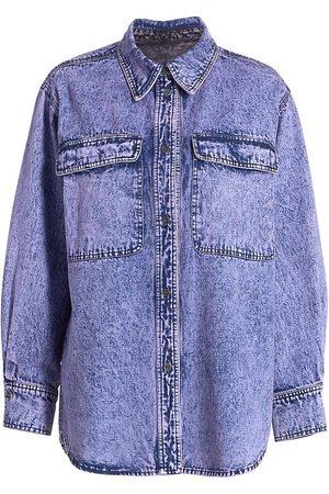 RACHEL COMEY Women's Acid-Washed Denim Supply Shirt - Lavender - Size 10