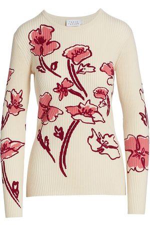 TANYA TAYLOR Women's Carina Rib Knit Floral Sweater - Ecru Multi - Size XS