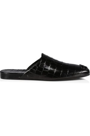Balenciaga Men's Cosy BB Croc-Embossed Leather Mules - - Size 8