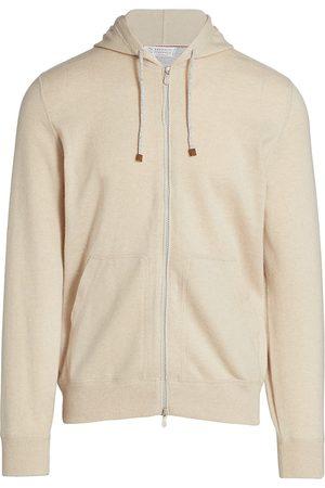Brunello Cucinelli Men's Cashmere Zip-Up Hoodie Sweatshirt - Sand - Size 50