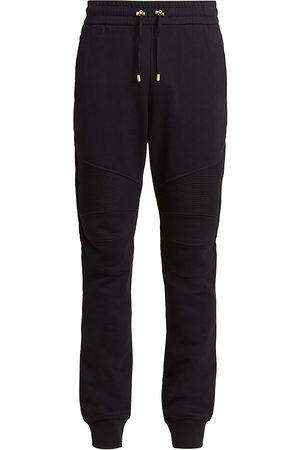 Balmain Men's Ribbed Cotton Sweatpants - Noir Blanc - Size XL