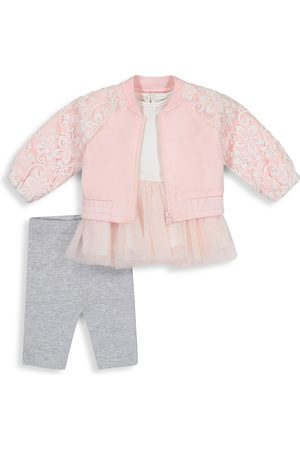 Miniclasix Baby Girl's 3-Piece Bomber Jacket, Tutu Top & Leggings Set - - Size 3 Months