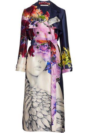 Jason Wu Women Trench Coats - Women's Collage Silk-Blend Trench Coat - Navy Multi - Size 2