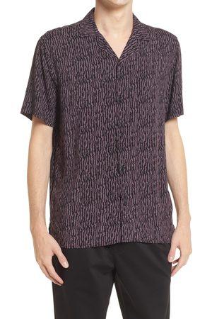 Open Edit Men's Zebra Print Short Sleeve Button-Up Camp Shirt