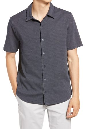 Vince Men's Regular Fit Patterned Short Sleeve Jacquard Knit Button-Front Shirt