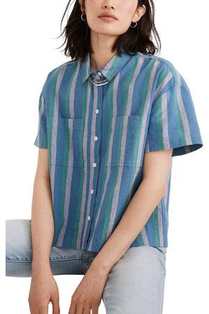 Madewell Women's Beachside Linen Blend Short Sleeve Button-Up Shirt