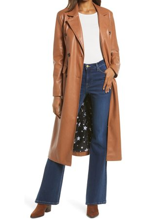 Avec Les Filles Women's Double Breasted Faux Leather Trench Coat