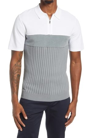 Reiss Men's Slim Fit Mercy Colorblock Short Sleeve Zip Polo