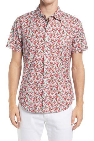 BONOBOS Men's Riviera Slim Fit Floral Short Sleeve Stretch Button-Up Shirt