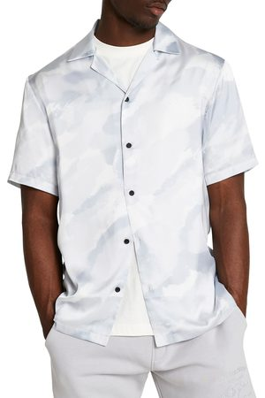 River Island Men's Revere Camouflage Short Sleeve Button-Up Shirt