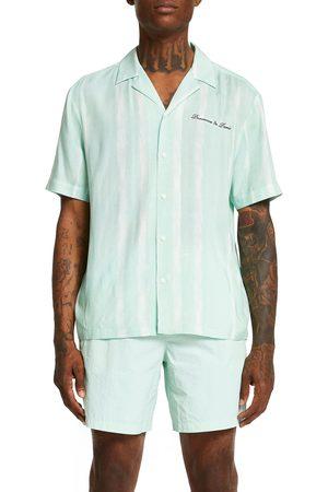 River Island Men's Revere Tie Dye Stripe Short Sleeve Button-Up Shirt